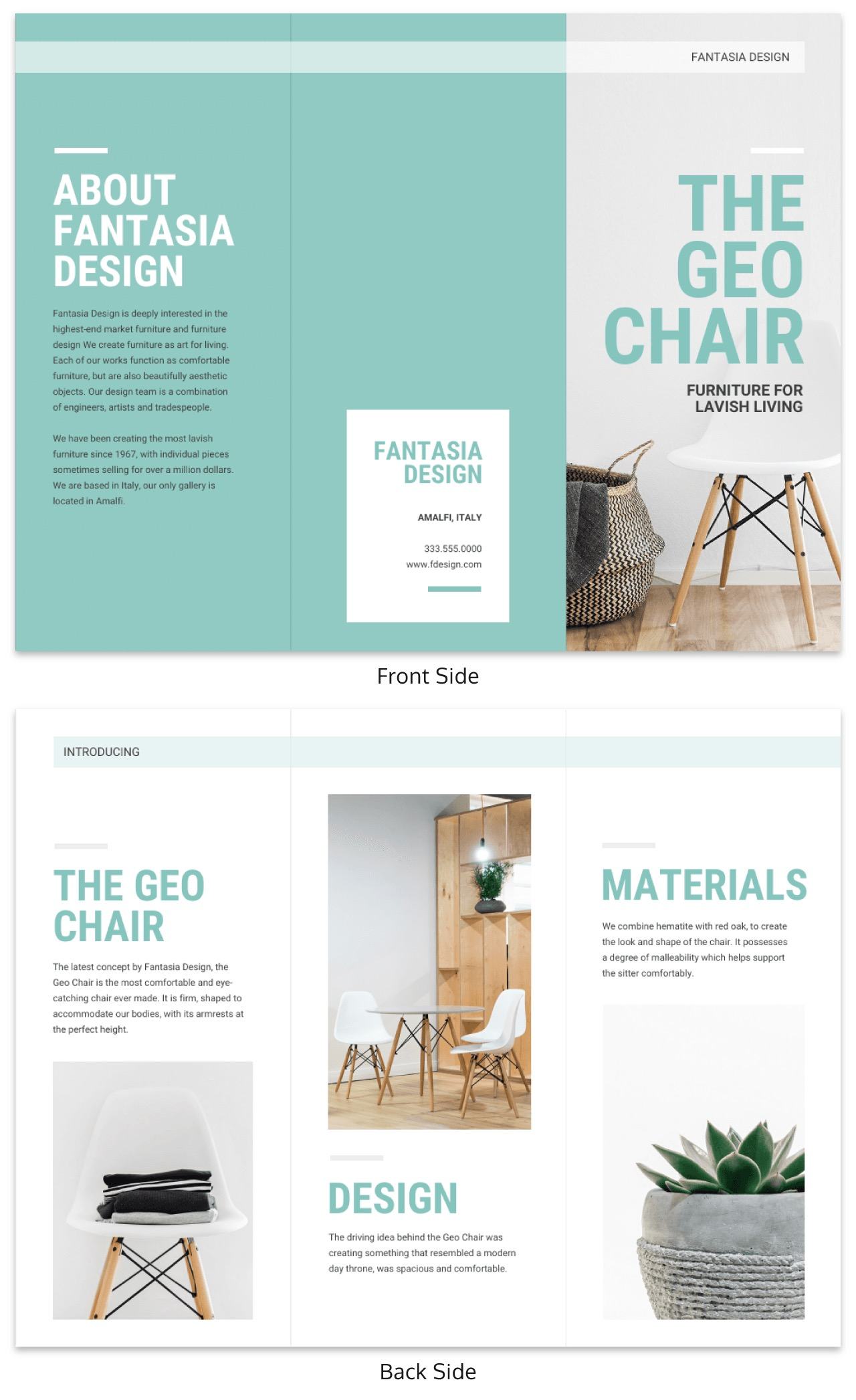 White and Teal Product Tri Fold Brochure Template