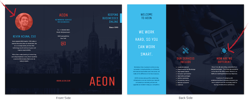 Simple Corporate Tri Fold Brochure Template with headshot