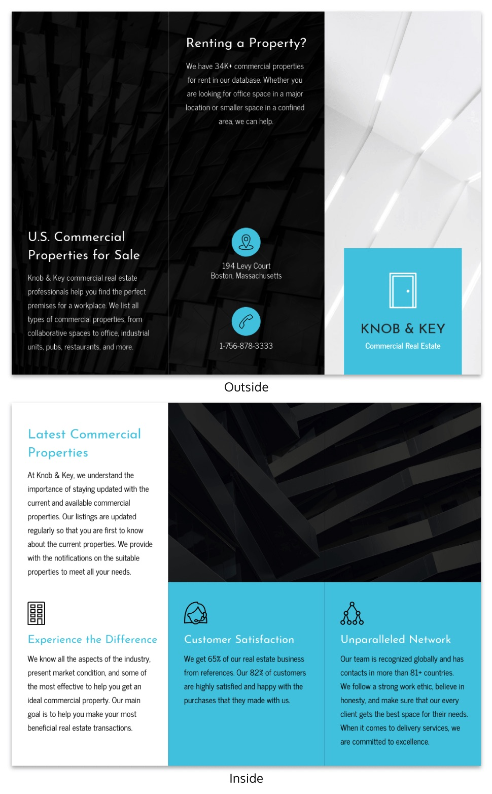 Modern blue real estate brochure