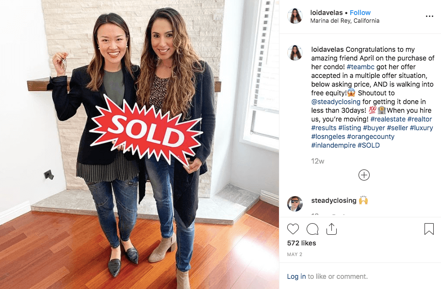 Realtor poses with friend in Instagram photo for real estate marketing