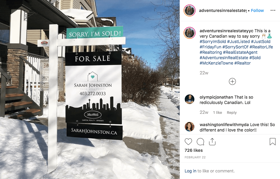 Realtor posts picture of funny sold sign on Instagram