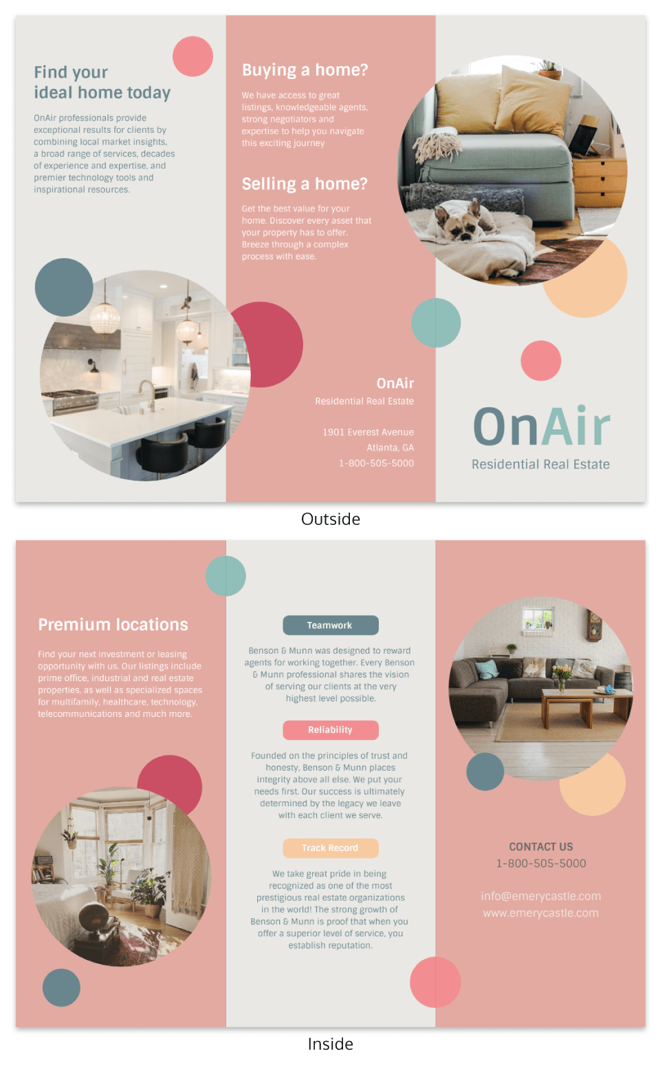 Real estate marketing template in bright colors
