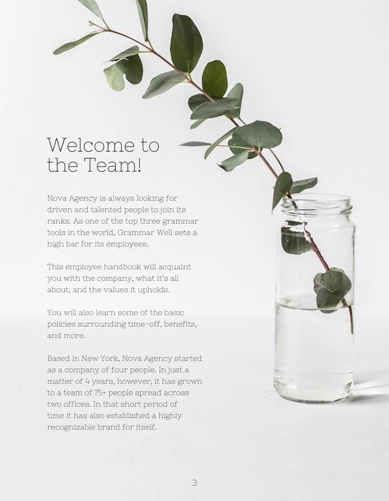 Modern employee handbook template inside page