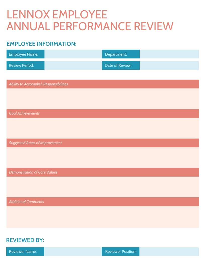 Red Annual Performance Review Template