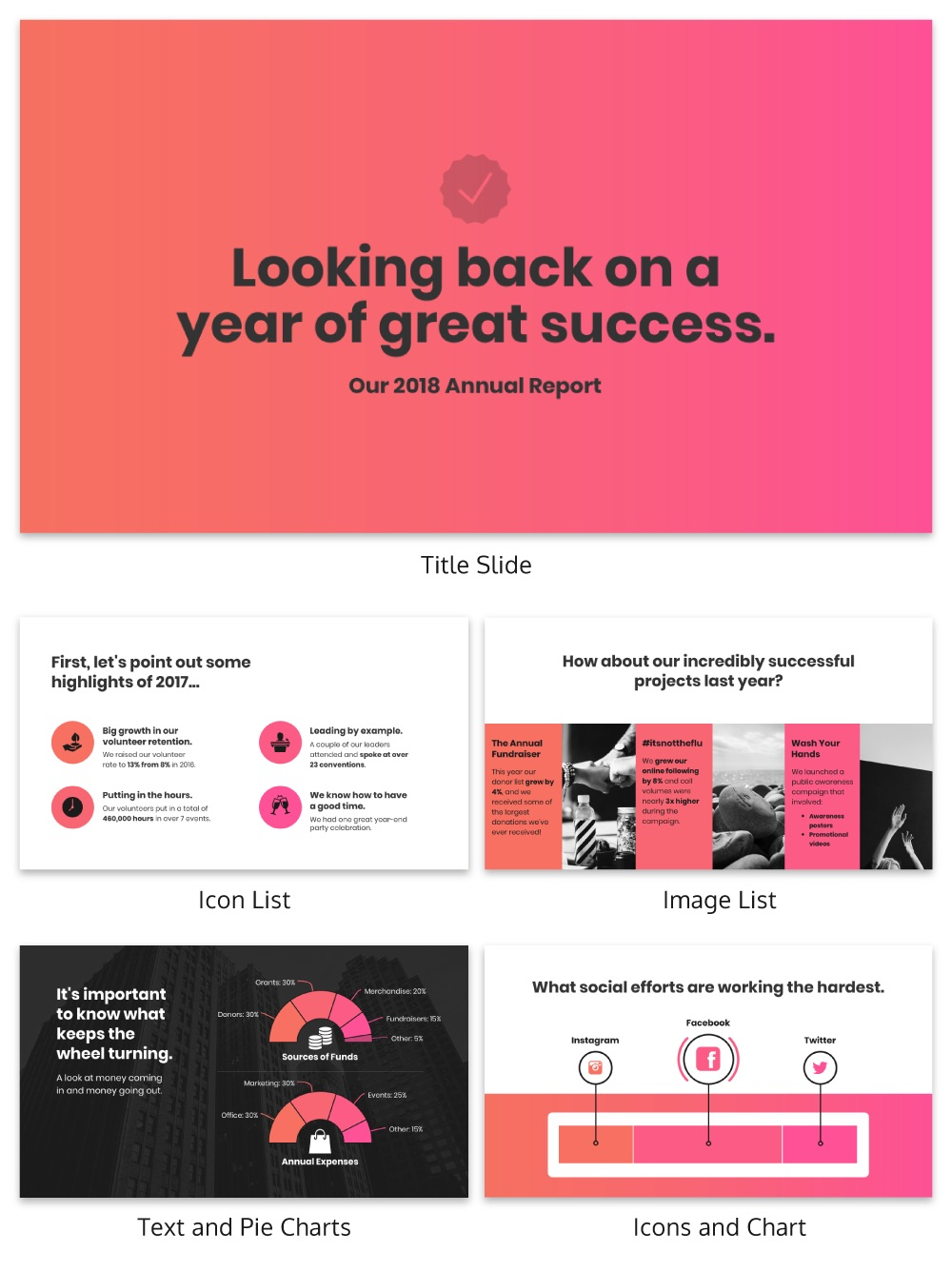 Pink nonprofit annual report template