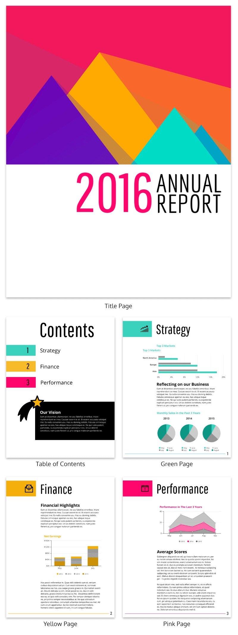 Colorful Annual Report Design Template
