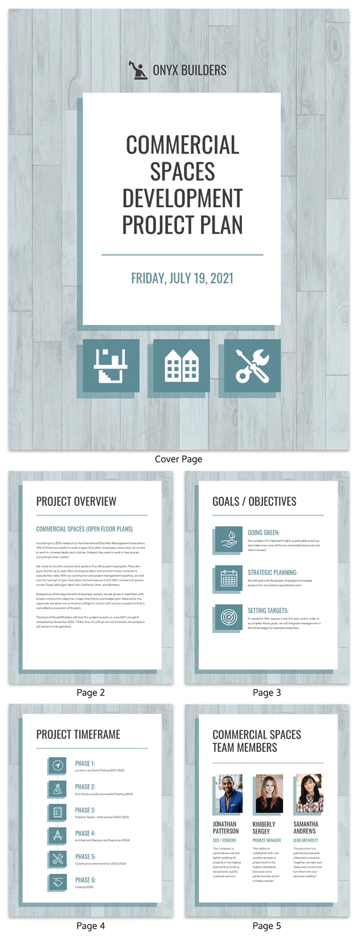 Blue project plan template
