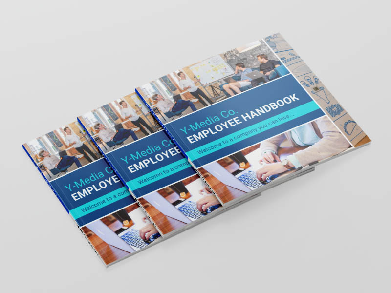 Employee handbook template mock up