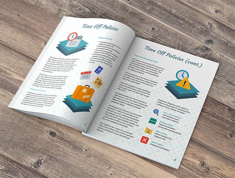 employee handbook example wooden background