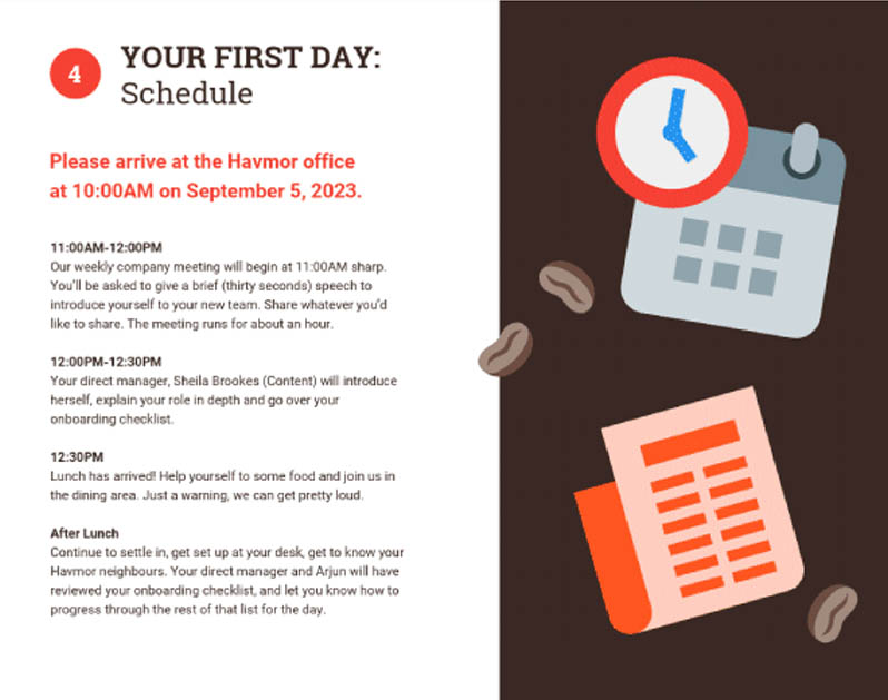 employee handbook template coffee icons