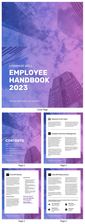employee handbook template gradient