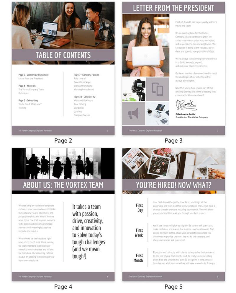 muted grey modern employee handbook template