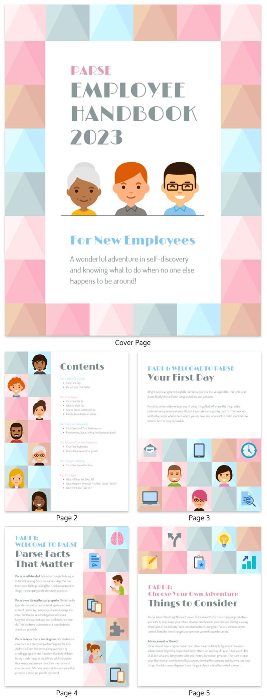 pastel color employee handbook template