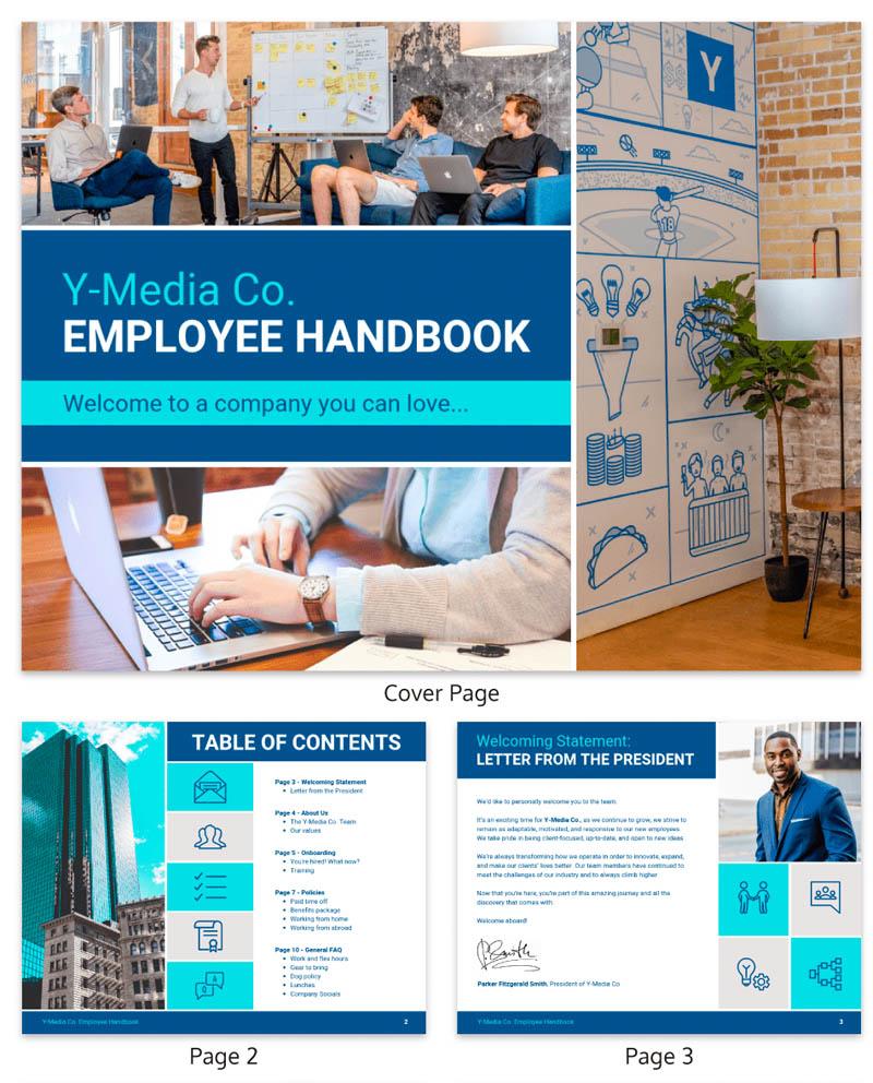 y media co blue block employee handbook template