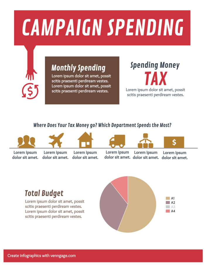 Campaign Spending statistical infographic template