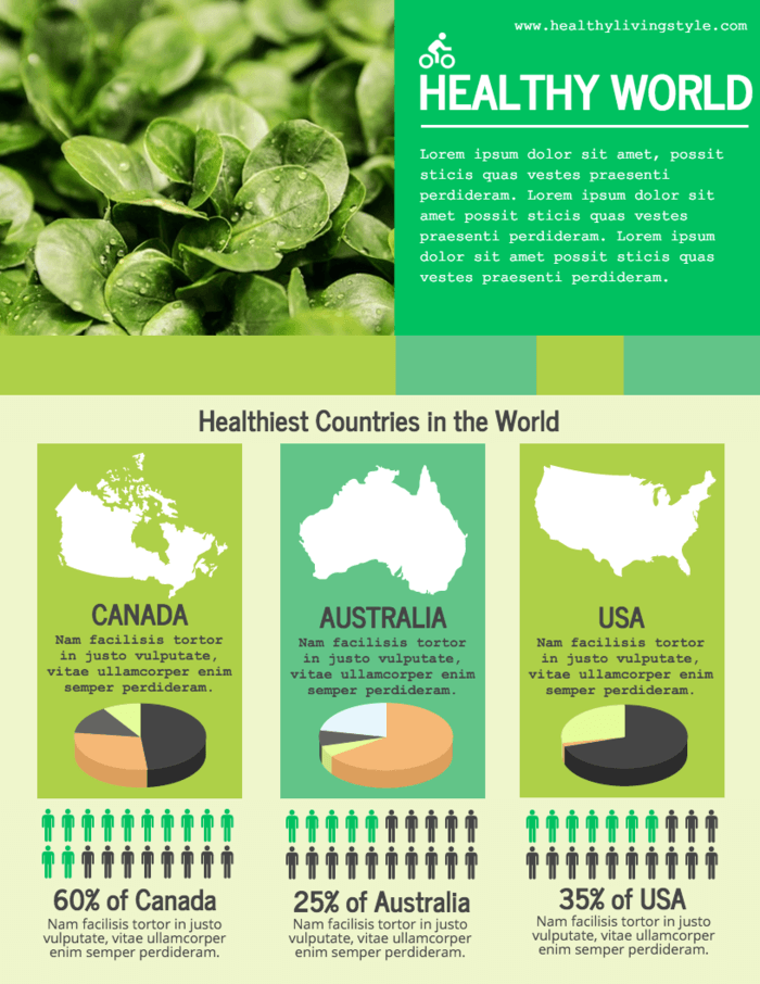 Healthy eating around the world infographic statistical template