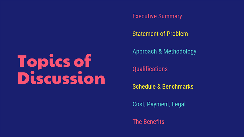 Topics of discussion presentation outline example template