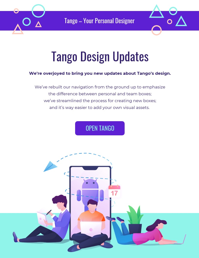 Modern purple email newsletter template