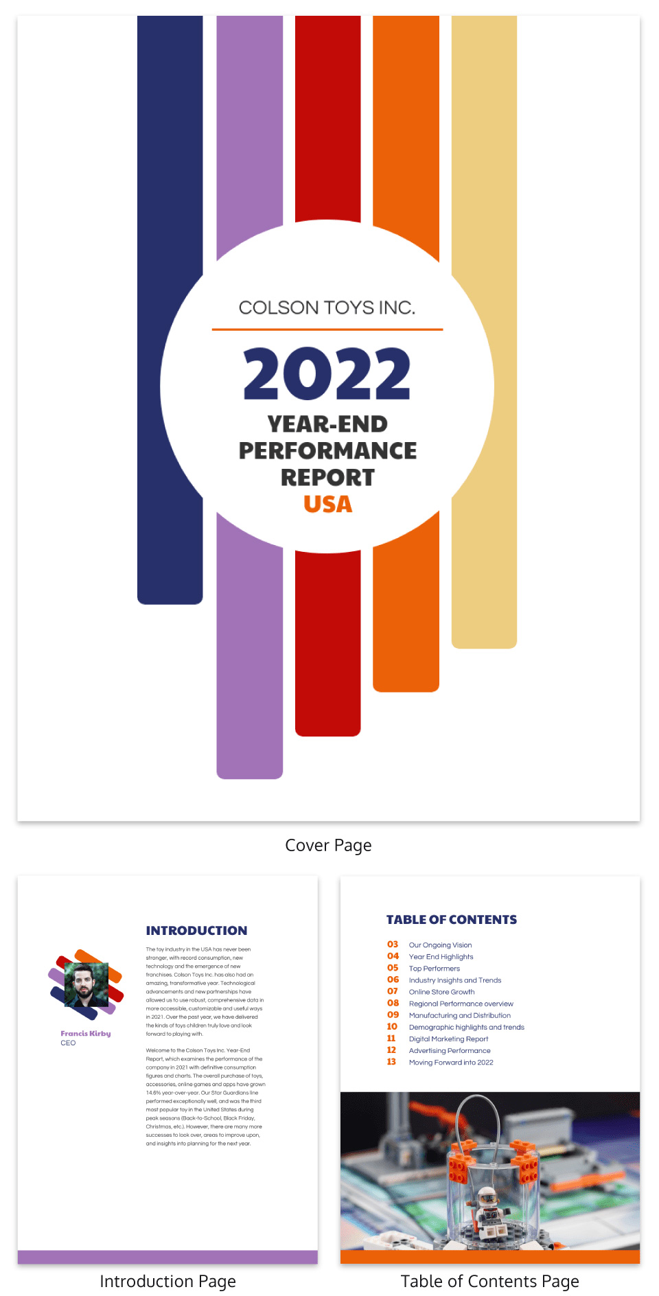 Retro year end annual report design template