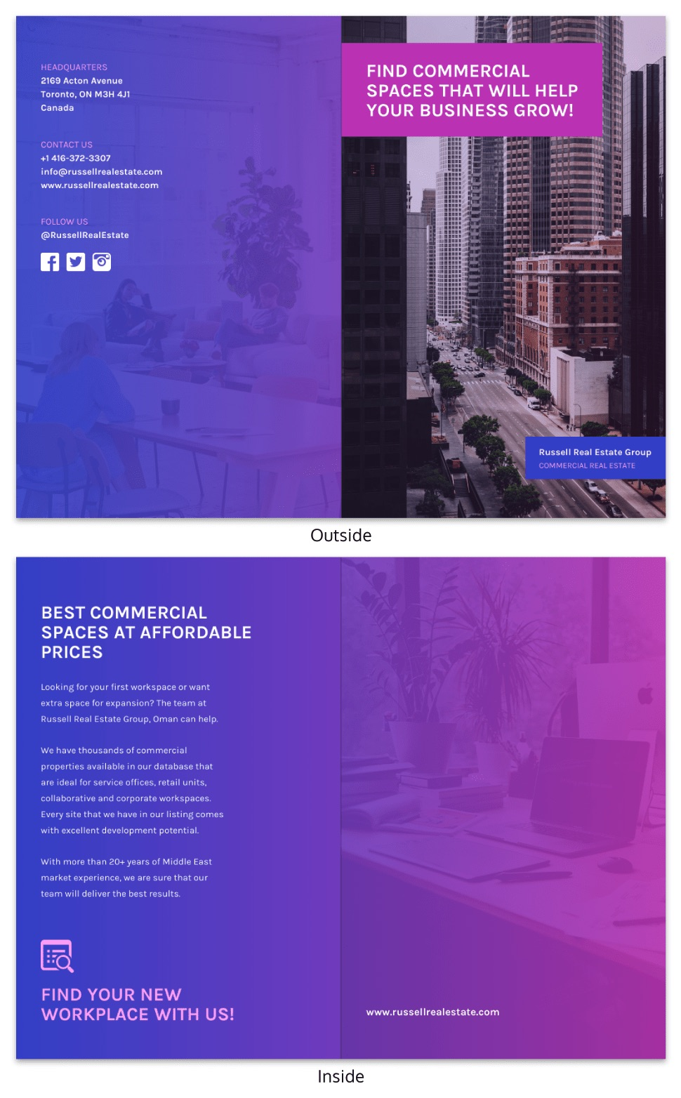 Modern purple real estate brochure template