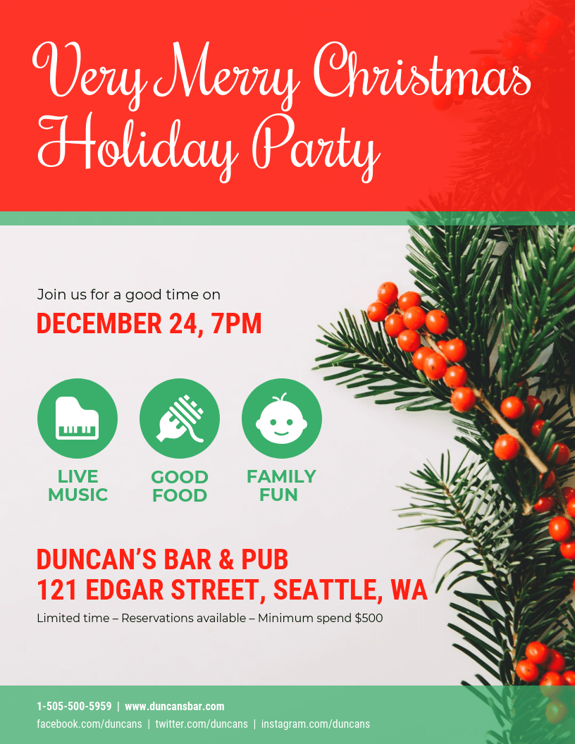 Christmas Party Poster Design Template