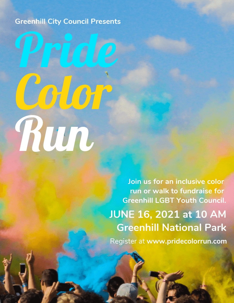 Color Run Charity Event Poster Design Template