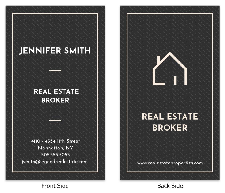 Dark Vertical Real Estate Business Card Template