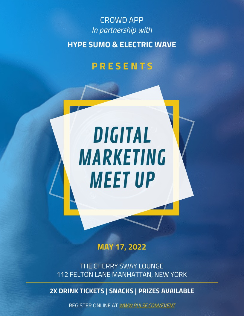 Digital Marketing Meet Up Event Poster DesignTemplate