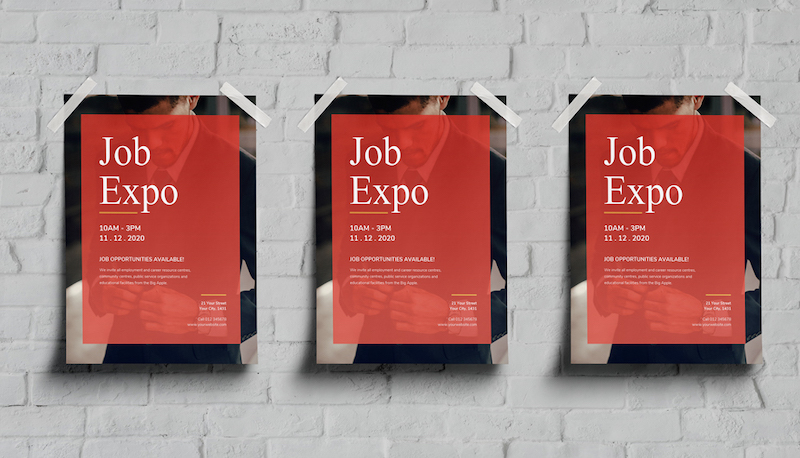 Job Fair Recruitment Event Poster Design Template