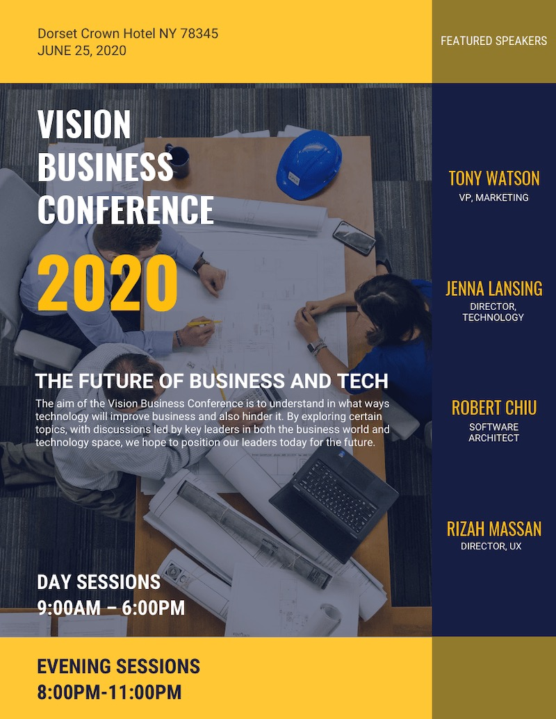 Modern Business Conference Event Poster Design Template