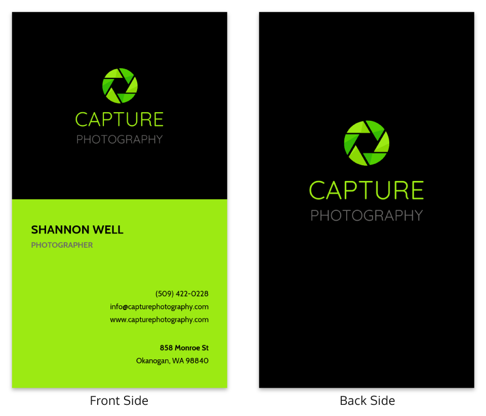 Neon Vertical Photography Business Card Template