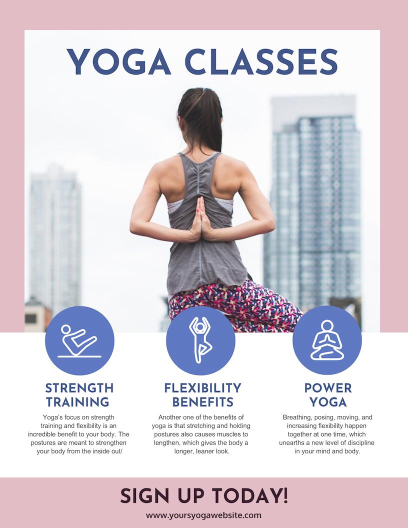 Pink Yoga Class Poster Design Template