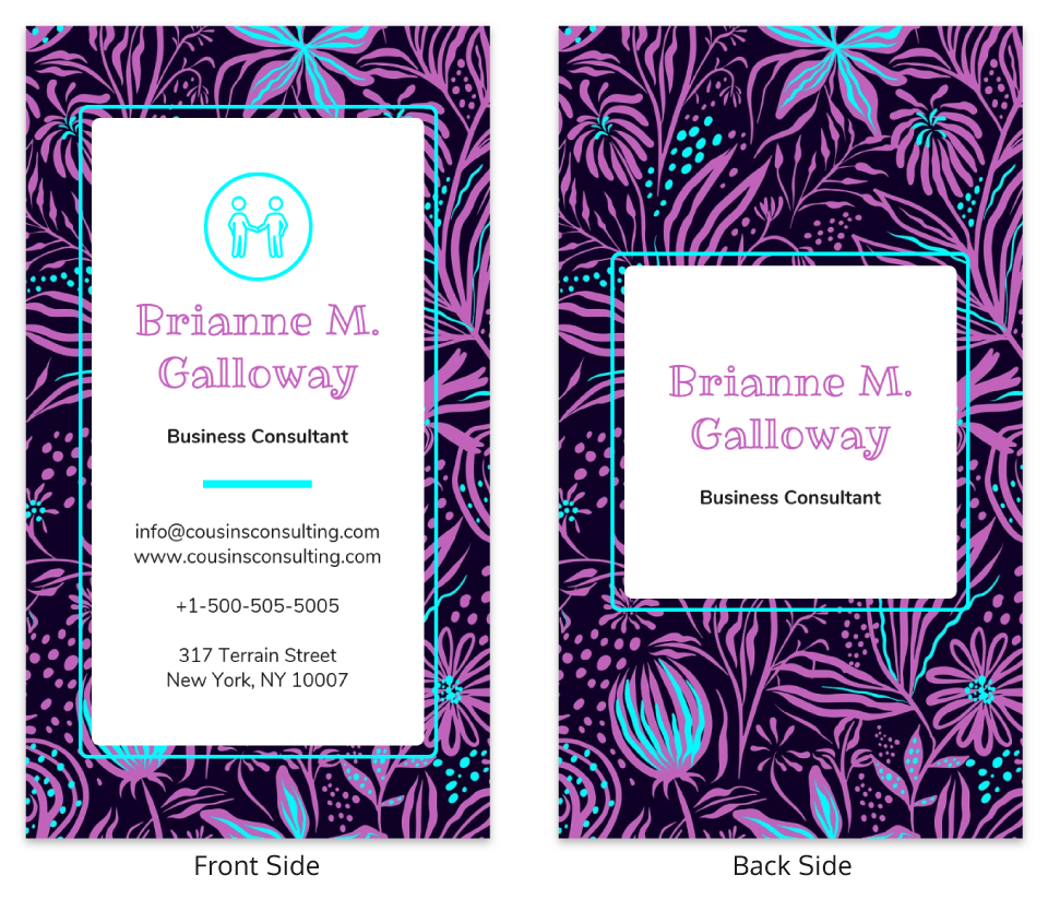 Purple Plants Personal Business Card Template