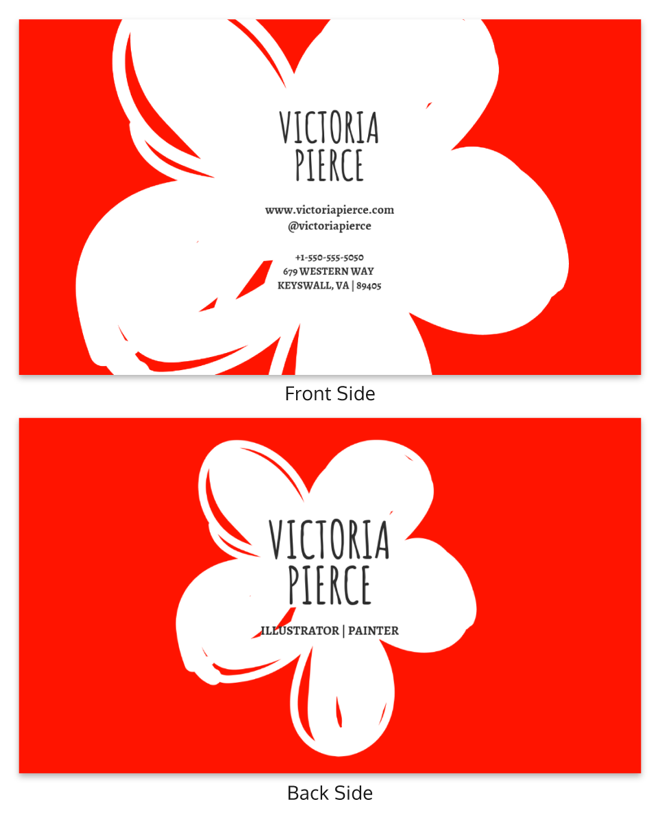 Red flower Illustrator Business Card Template