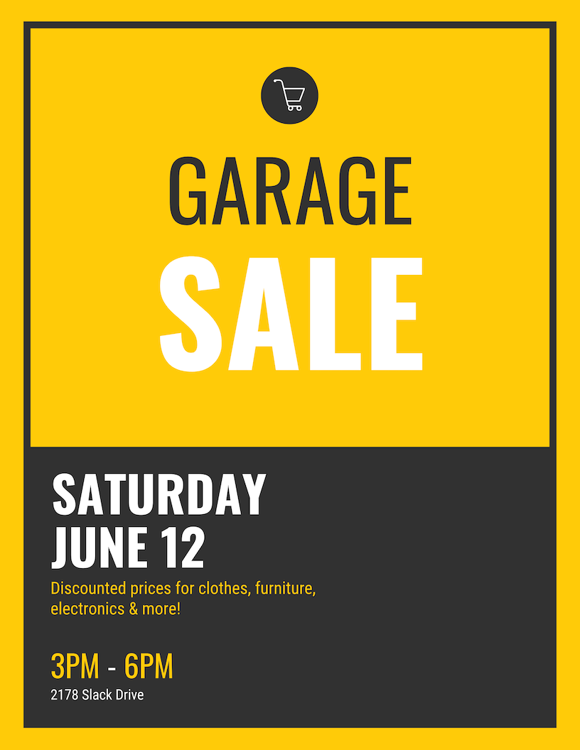 Simple Garage Sale Event Poster Design Template