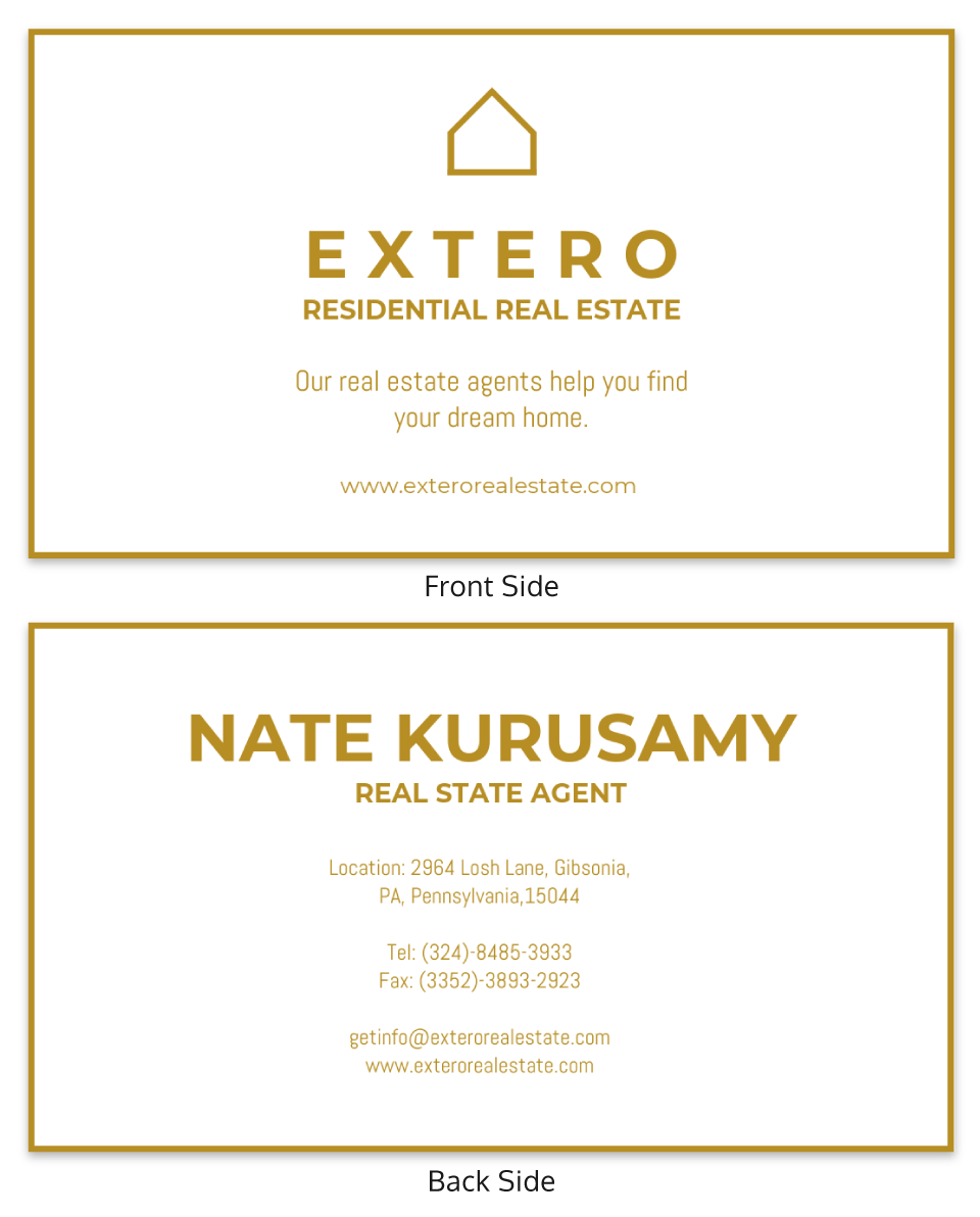 Simple Gold Real Estate Business Card Template