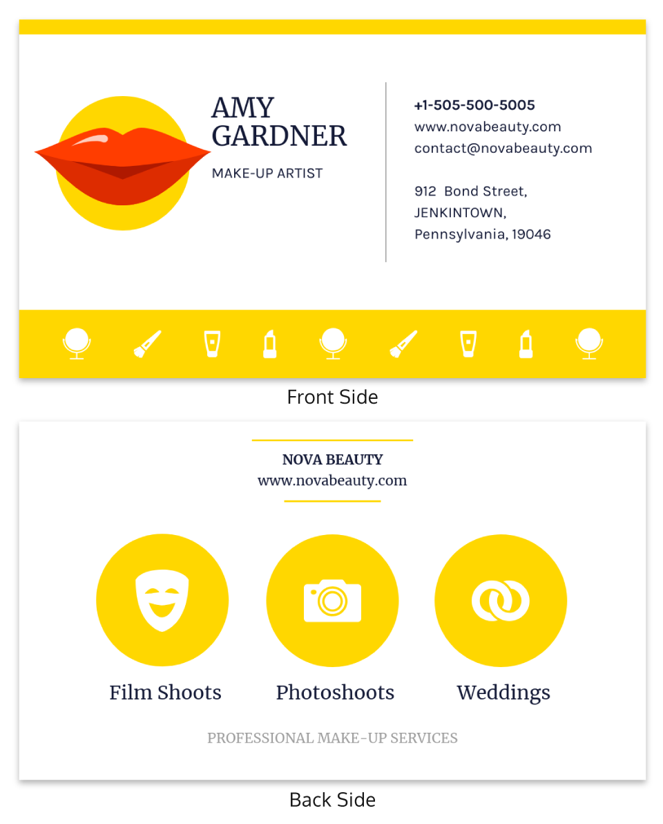 Yellow Makeup Artist Business Card Template
