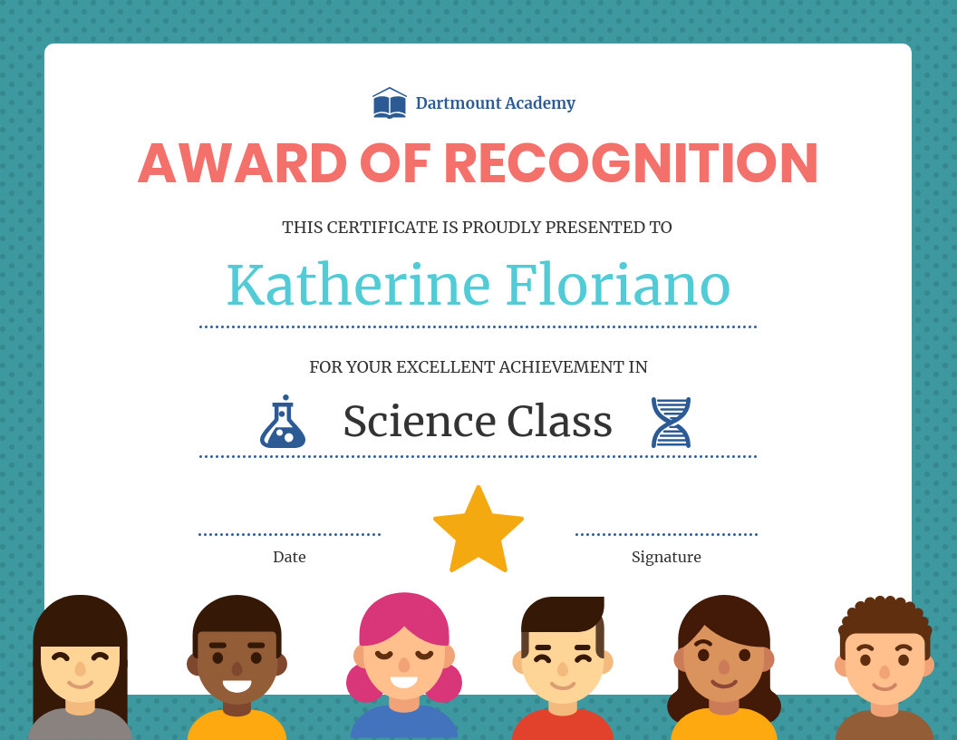Award of recognition classroom award template