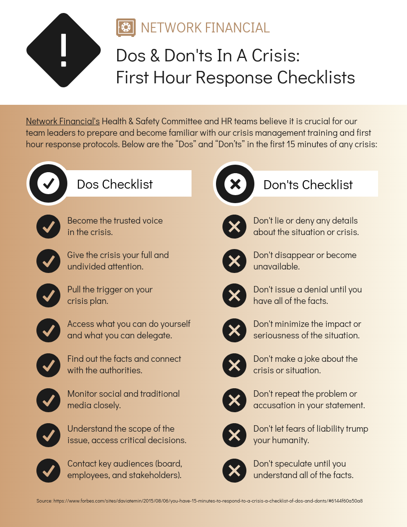 Company Crisis Response Dos And Donts Checklist