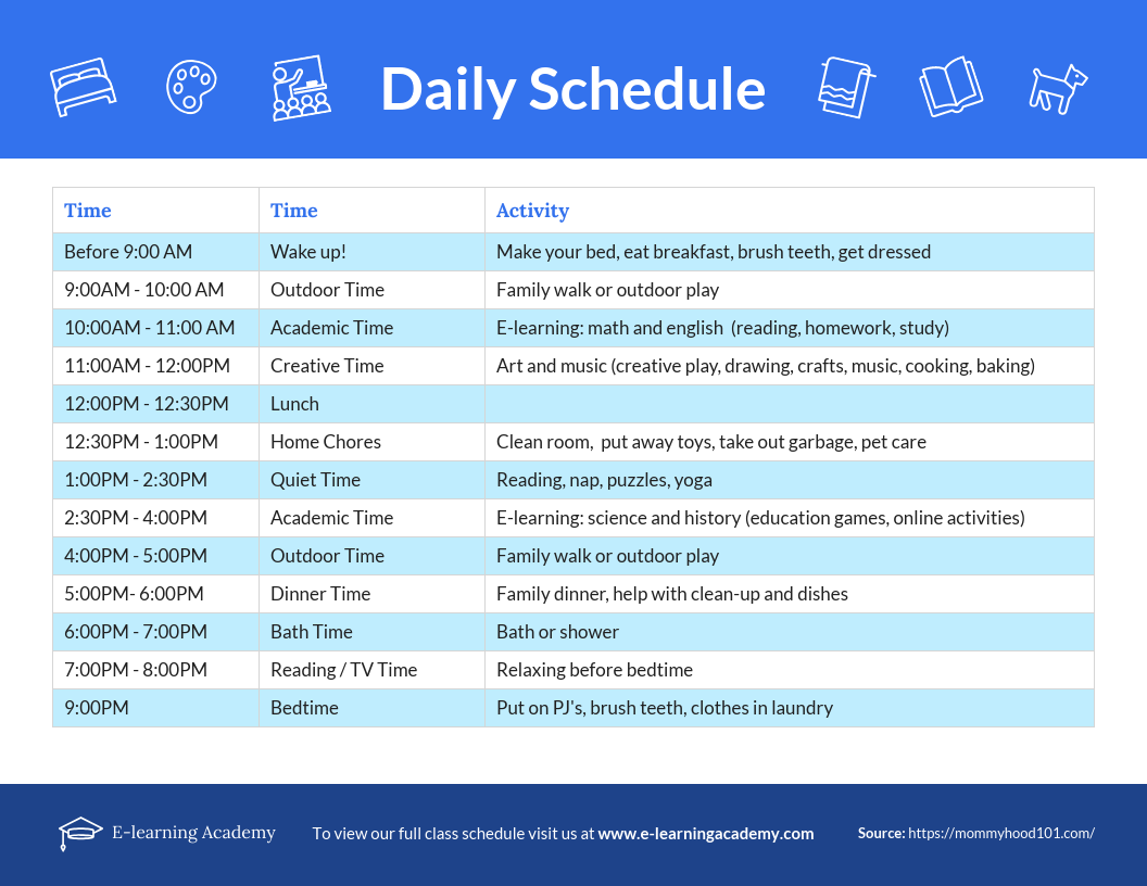 Elearning dailyl schedule remote learning template