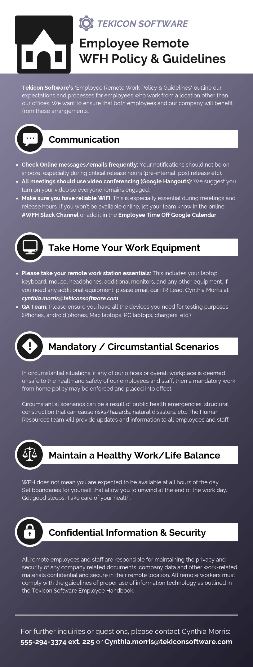 Employee Remote WFH Policy Guide Infographic