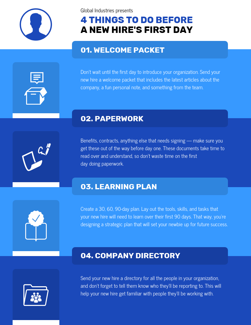 New Hire First Day Infographic Template