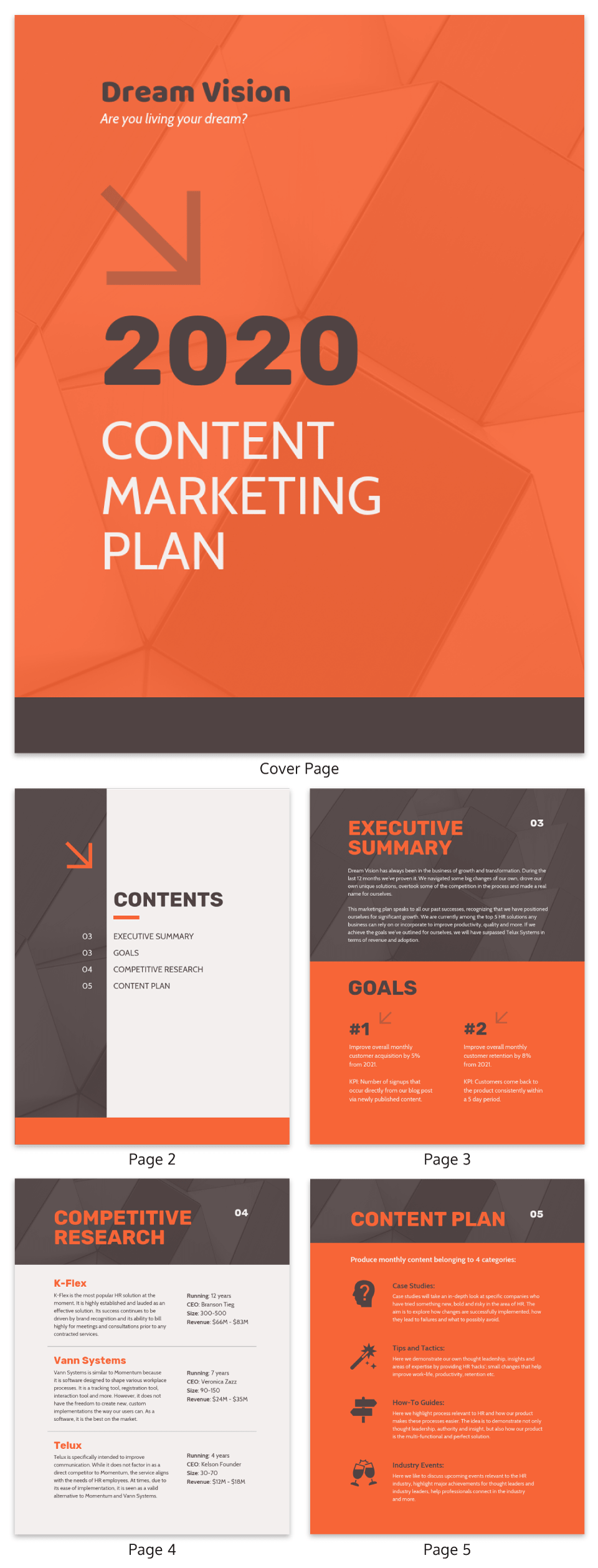 Orange Content Marketing Plan Template