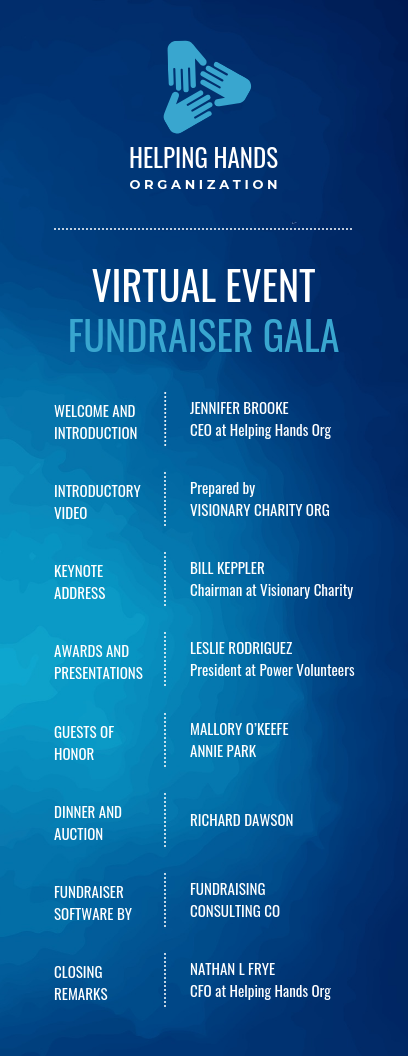 Virtual Fundraiser Event Program Template