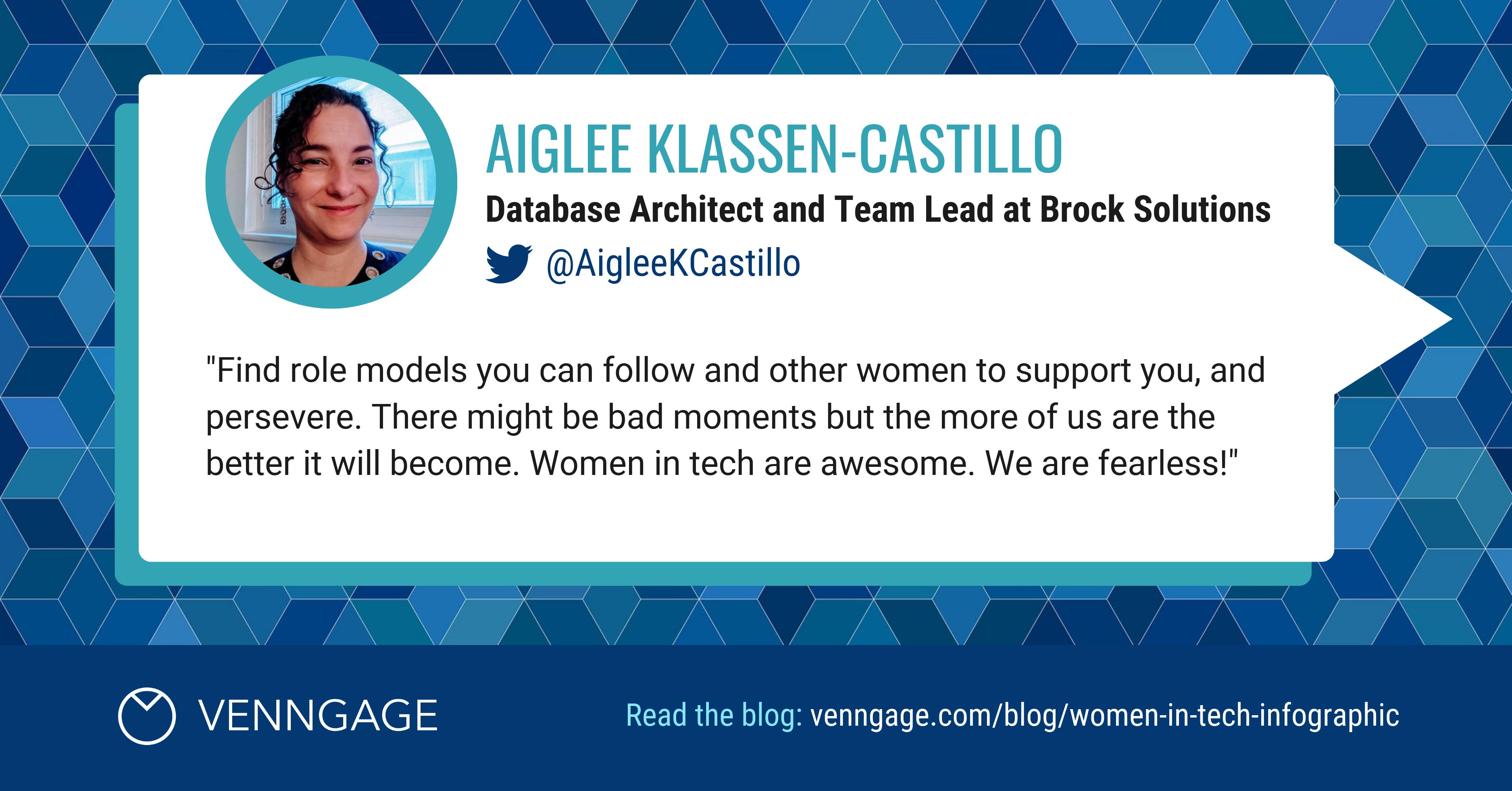 Women In Tech Aiglee Klassen-Castillo Social Media Quote