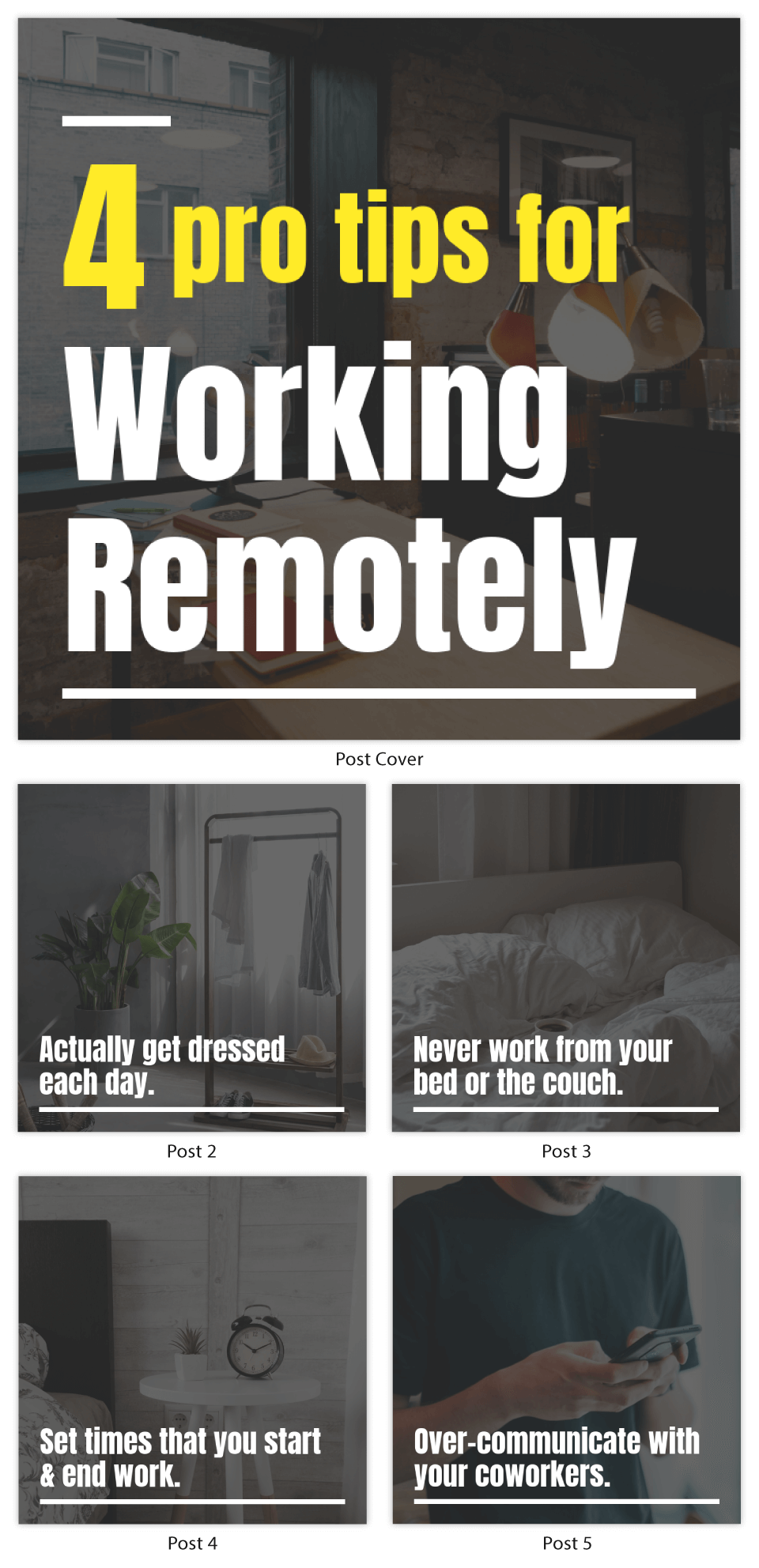 Working from Home Instagram Carousel Post Template