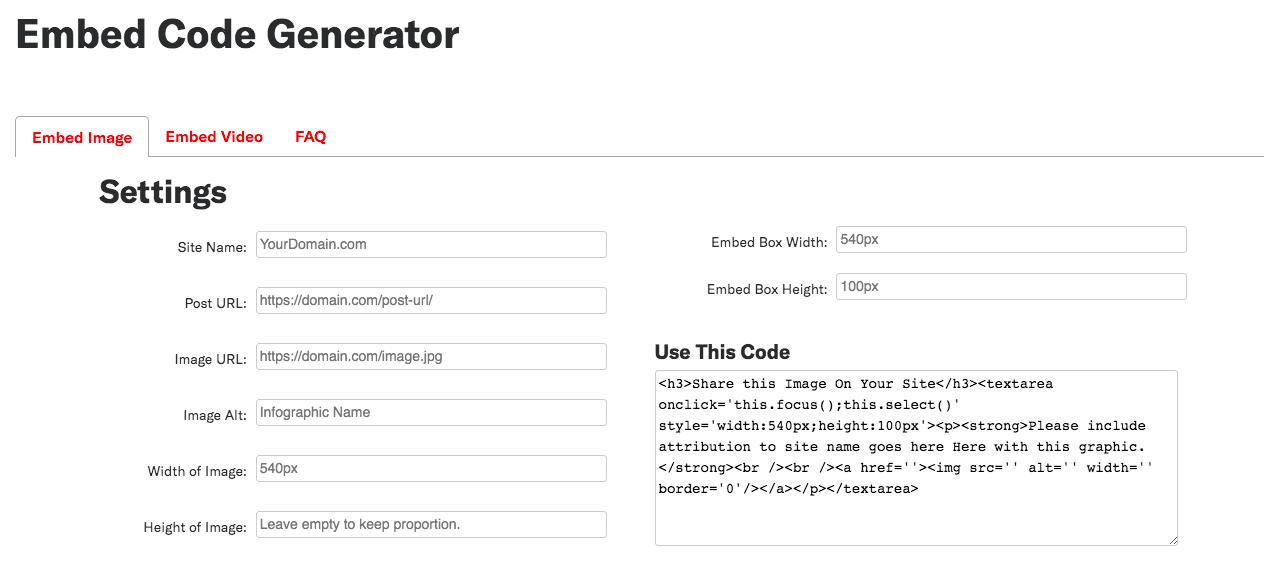 Exemple de capture d'écran du générateur de code intégré