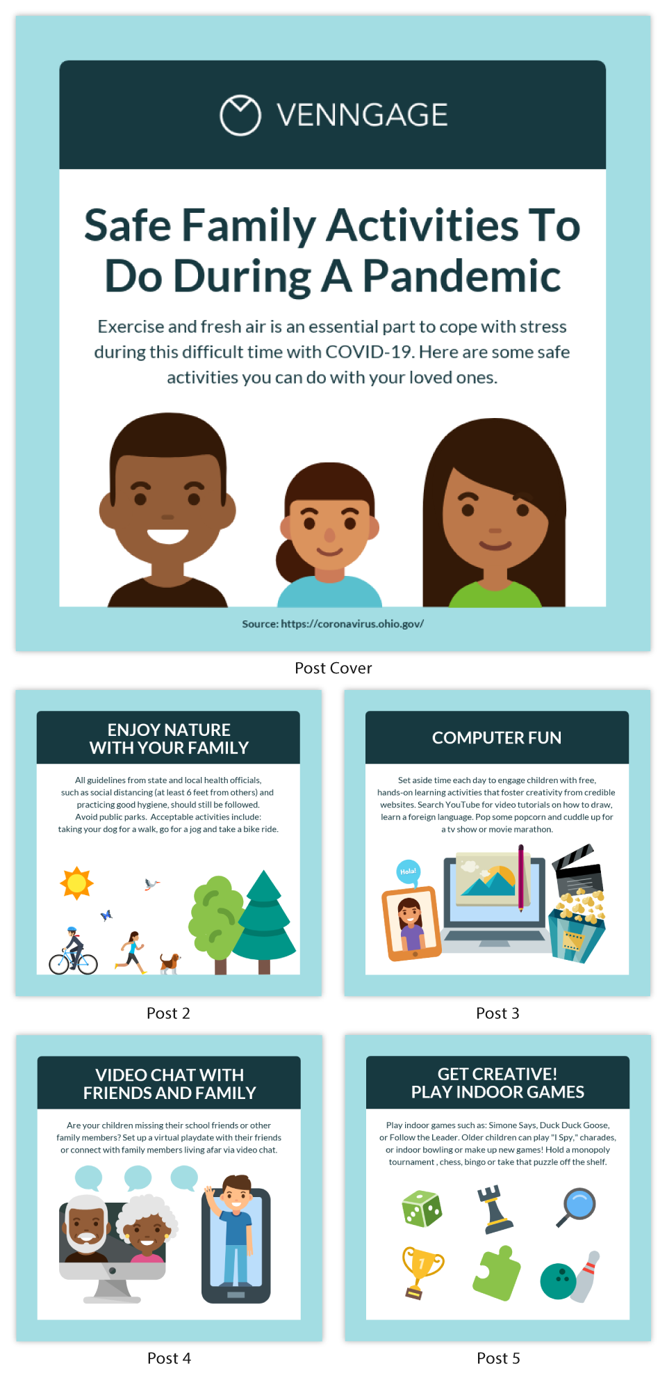 Safe Family Activities Instagram Carousel Template