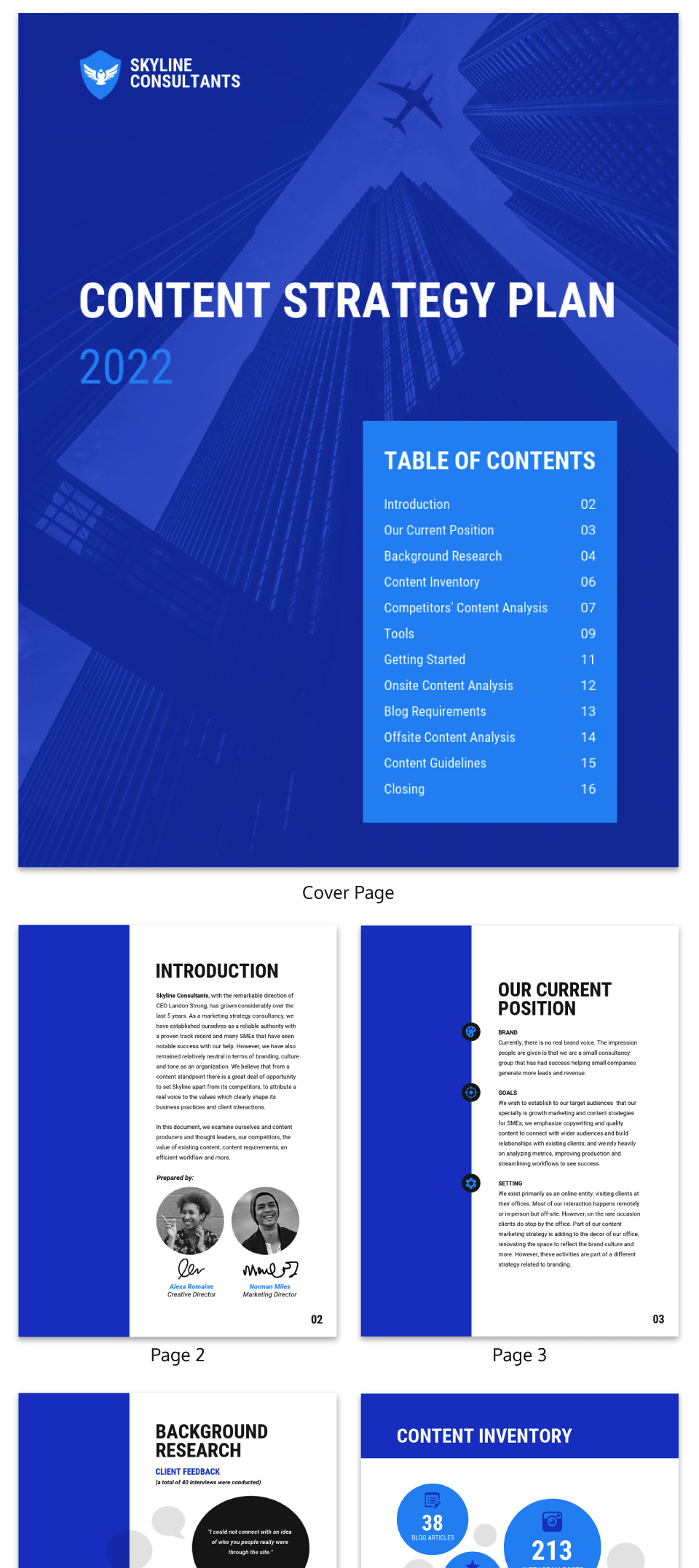 Blue Content Strategy Plan Consulting Proposal Template