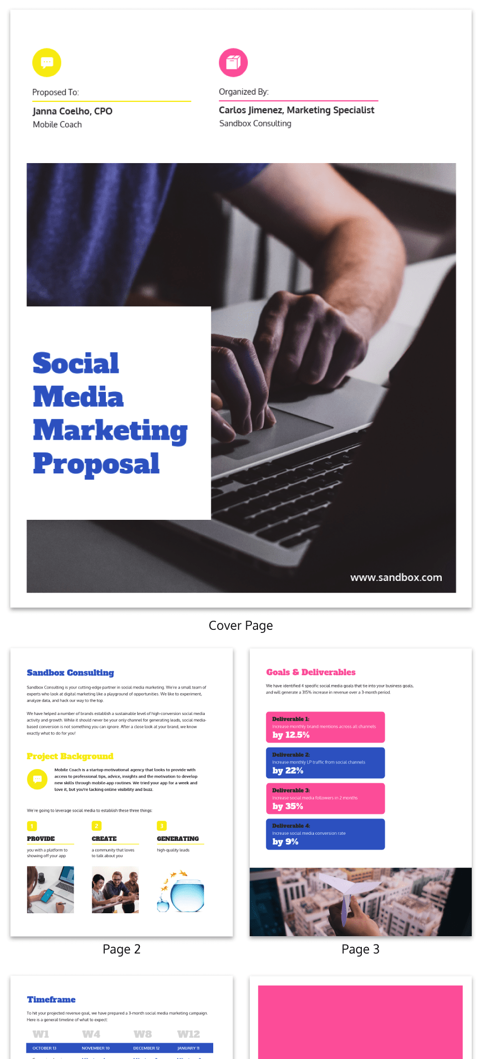 Bold Simple Social Media Marketing Consulting Proposal Template